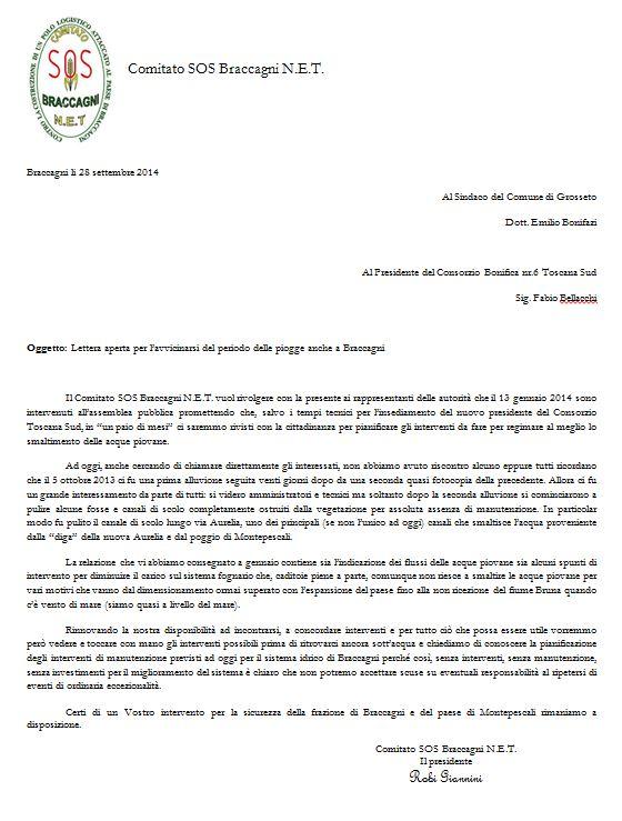 Lettera aperta del 28 settembre 2014 - pericolo alluvioni